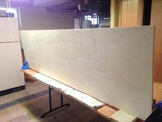 Building a fridge surround -- Plaster & Disaster Blue Kitchen Cabinets, Kitchen Dining, Built In Refrigerator, Plaster, Kitchen Remodel, Entryway Tables, Building, Wall, Diy Ideas