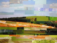 """Tranquil Plains"" is a collage made entirely from magazine strips by collage artist Megan Coyle. Collage Landscape, Landscape Photos, Landscape Photography, Landscape Paintings, Collage Illustration, Landscape Illustration, Magazine Collage, Collage Making, Collage"