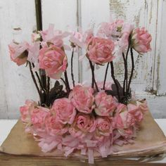 Wire crown with pink roses shabby chic by AnitaSperoDesign on Etsy, $85.00