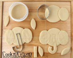 Elephant Cookies (Tutorial) Baby Cookies, Baby Shower Cookies, Iced Cookies, Cute Cookies, Cupcake Cookies, Sugar Cookies, Cupcakes, Cookie Icing, Cookie Cutters