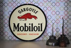 Vintage metal Mobil gas sign