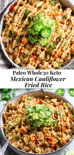 This Mexican Cauliflower Fried Rice is packed with veggies, protein, and lots of flavor and spice! It's topped with an easy guacamole and chipotle ranch sauce for a tasty, filling meal that's Paleo, compliant and keto friendly. Paleo Cauliflower Fried Rice, Paleo Rice, Cauliflower Recipes, Paleo Food, Mexican Food Recipes, Diet Recipes, Cooking Recipes, Healthy Recipes, Cooking Tips
