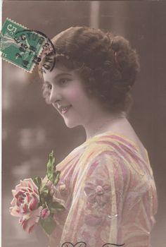 Romantic vintage French Woman  Postcard . by ParisBookandPaper