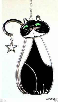 Stained Glass Black Country Cat Sun Catcher in Crafts, Handcrafted & Finished Pieces, Other Handcrafted Pieces   eBay