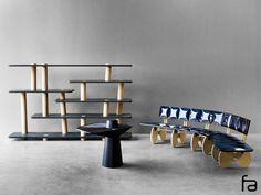 Fabrice Ausset - bibliothèque SKELETON, bout de canapé BLACKWEBWOOD, Banquette BLACKSILVERWING AD collections 2015