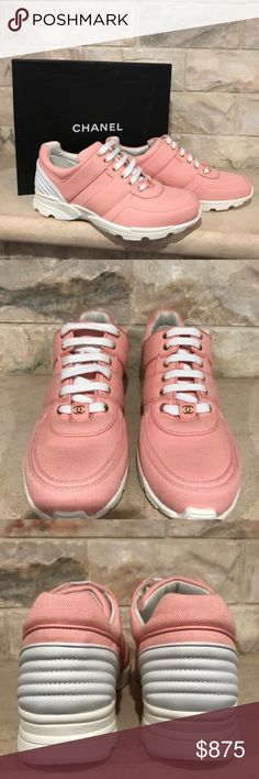 Chanel 17C Pink Salmon Canvas CC White Lace Up Tie Chanel 17C Pink Salmon Canvas CC White Lace Up Tie Flat Trainer Sneaker 36  ********** Chanel **********  Brand: Chanel Size: 36 (know your Chanel size)  Name: Trainer Color: Salmon Style: 17C Style#: G31711X52049 Material: Canvas Fabric Lace up tie front Chanel CC front logo Light pink salmon canvas fabric material White leather material Large CC bottom logo White sole, laces and back Brand new in box, comes with original box and dust bag…