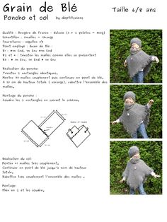 tricot-couture - Ben J - Picasa Albums Web Fall Knitting Patterns, Easy Sewing Patterns, Arm Knitting, Poncho Crochet, Patron Crochet, Crochet Baby, Tricot Baby, Kids Poncho, Crochet Fashion