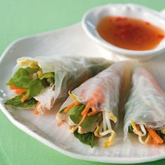 Chicken and herb rice paper wraps with dipping sauce