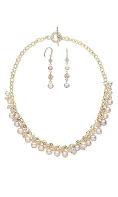 Single-Strand Necklace and Earring Set with Swarovski Crystal Beads, Cultured Freshwater Pearls and Gold-Filled Chain