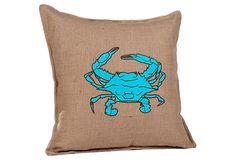 Crab Applique Burlap Pillow, Blue/Brown  $39.00 (ECOACCENTS)
