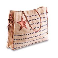 Mona B Stars and Stripes Natural Jute Fiber Tote Burlap Projects, Burlap Crafts, Craft Projects, Burlap Tote, Hip Bag, Market Bag, Zipper Bags, Tote Purse, Bag Sale
