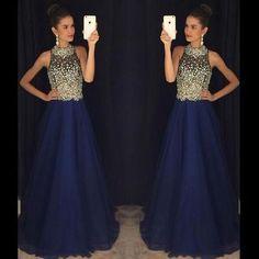 navy blue prom dress, long prom dress, beaded prom dress, charming evening dress, luxury prom dress, BD411