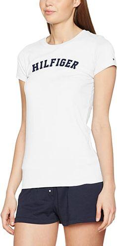 Passform super, pflegeleicht und günstiger Preis.  Tommy Hilfiger Damen-T-Shirt aus Baumwolle mit einem Logo auf der Brust. Es ist ein Produkt für ein entspanntes Freizeitkleidung.. 100% Baumwolle Pflegehinweis: Maschinenwäsche Modellnummer: UW0UW00091  Bekleidung, Damen, Tops, T-Shirts & Blusen, T-Shirts Shirt Bluse, Tommy Hilfiger Damen, Pajama Top, Pajamas, Tees, Super, Logo, Fashion, Casual Work Wear