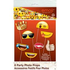 Emoji Photo Booth Props, 8pc