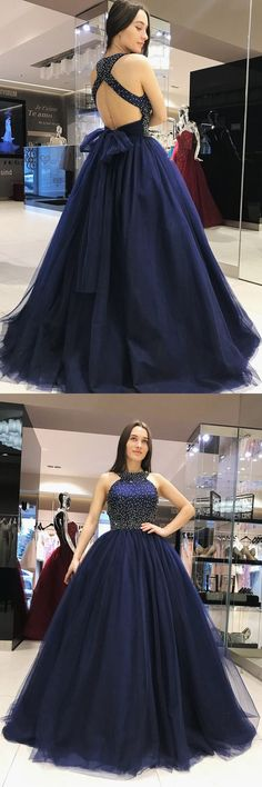 elegant navy ball gowns with open back for special occasion, chic formal prom party gowns with beaded