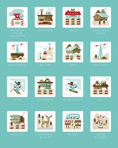 Belgian illustration, graphic design and cartography studio Flat Design Icons, Web Design, Icon Design, Logo Design, Cute Illustration, Graphic Design Illustration, Digital Illustration, Map Icons, Branding