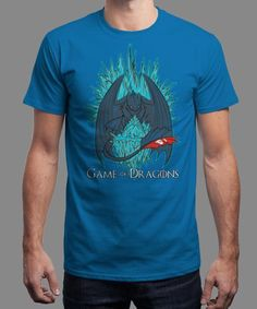 """""""Game of Dragons"""" is today's £8/€10/$12 tee for 24 hours only on www.Qwertee.com Pin this for a chance to win a FREE TEE this weekend. Follow us on pinterest.com/qwertee for a second! Thanks:)"""