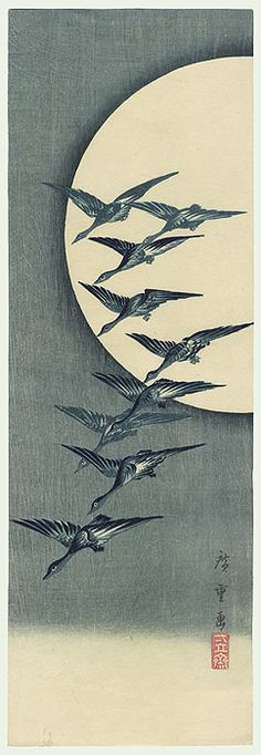 Descending Geese and Full Moon, Hiroshige. Goose Tattoo, Goose Drawing, Korean Art, Japanese Painting, Japan Art, Advertising Poster, Woodblock Print, Full Moon, Birds In Flight