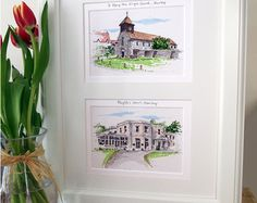 Hand-drawn illustrations from your most special photos by ErinRoseIllustration House Illustration, Illustrations, Personalized Wedding Gifts, Beautiful Hands, Etsy Store, Wedding Venues, How To Draw Hands, Gallery Wall, Stationery
