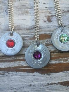 Silver  Shotgun Shell Necklace Swarovski by SouthernTouchDesigns