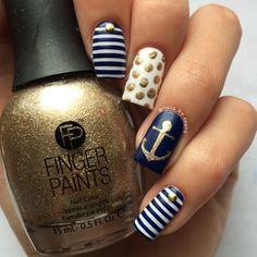 Anchors away! Nautical nail polish classic chic sexy glam cool