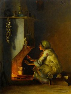 Theodoros Rallis was a Greek painter, watercolourist and draughtsman, who spent most of his working life in Paris, France and in Egypt. School of French Academy. - Young Girl by a Fire Greek Paintings, Baroque Painting, Painting Art, 10 Picture, Greek Art, Chiaroscuro, Beauty Art, Love Art, Impressionism