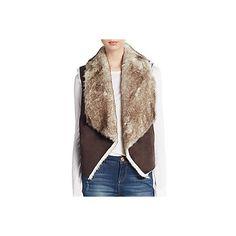 C&C California Faux Fur Vest ($45) ❤ liked on Polyvore featuring outerwear, vests, brown, open front vest, brown faux fur vest, brown waistcoat, c&c california and faux-fur vests