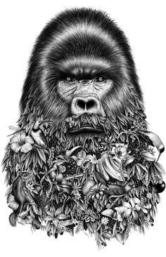 """Gorilla with a Floral Beard"" .. ""Le Gorille"" by Violaine & Jeremy .. #LeGorille #Illustration #Art .."