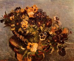 Tambourine with Pansies.  Paris, Spring 1886, Size 46 x 56cm