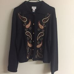 Black Collared Button Down Sweater with Fabric Paisley Appliques  Womans Sz Lg    eBay