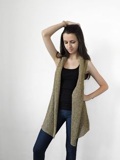 45$ - FREE SHIPPING Pure linen vest Knitted beige and by IrensKnitting