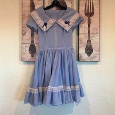 "Vintage swing dress Light blue graph dress with eyelet trim. Metal back zipper. 13.5"" across waist, 34"" back neck to hem. Waist has very minimal elastic give Dresses"