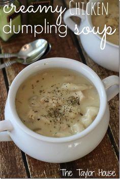 Comfort Food, slow cooker recipes, Chicken Dumpling Soup using @Sue-Ann Metz biscuits to make the dumplings!