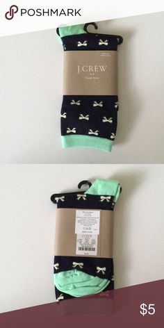 J. crew socks Brand new with tags.   Navy with mint green bows. J. Crew Accessories Hosiery & Socks