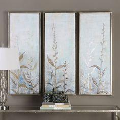 Shining Florals Framed Wall Art 3-piece Set, Multicolor