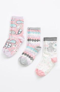 Nordstrom 'Paisley Splash' Crew Socks (3-Pack) (Walker Girls, Toddler Girls & Little Girls) | Nordstrom