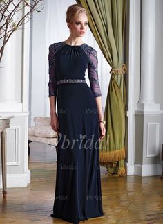 Mother of the Bride Dresses - $199.99 - A-Line/Princess Scoop Neck Floor-Length Chiffon Tulle Mother of the Bride Dress With Sash Beading (00805008281)