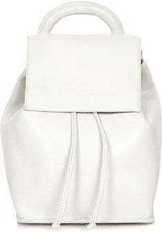 White leather backpack.