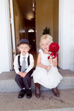 Beyond adorable ring bearer and flower girl | Rustic Fall Wedding In Burgundy Hues At Olympia Valley Estate California | Photograph by Heather Scharf Photography  http://storyboardwedding.com/rustic-fall-wedding-olympia-valley-estate-california/
