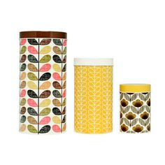 <3 Orla Kiely Cannisters Black and Yellow Set of 3