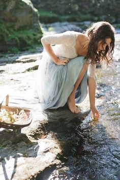 Maid Of Buttermere Fine Art Film Photography Taylor & Porter Bride Lake District Wedding Stream Washing Apples
