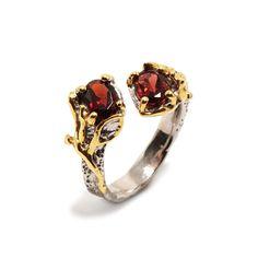Ring mit Granat Gemstone Rings, Engagement Rings, Gemstones, Jewellery, Red Garnet, Gold Paint, Beads, Stones, Silver