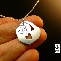 Cute SLOTH - hand cut sterling silver necklace, gift ideas, holidays on Etsy, $30.00