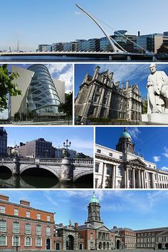 Clockwise from top: Samuel Beckett Bridge, Trinity College, Custom House, Dublin Castle, O'Connell Bridge, and Convention Centre Dublin.