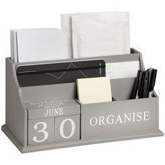 Good quality desk organizer in grey & white…