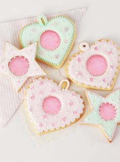 Beautiful heart and star biscuits with pink isomalt centres - a great gift for someone special on Valentine's Day!