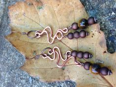 Squiggly copper earrings