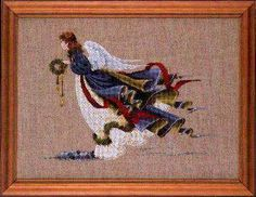 Lavender and Lace Angel of Freedom - Cross Stitch Pattern. Stitched on either 16 count Sage Aida or 32 count Natural Belfast Linen with DMC floss. The stitch co Santa Cross Stitch, Cross Stitch Fairy, Cross Stitch Angels, Just Cross Stitch, Cross Stitch Books, Cross Stitch Kits, Cross Stitch Patterns, Lace Patterns, Christmas Cross