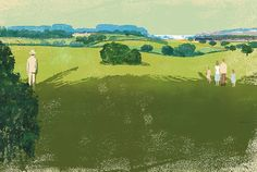 #family #people #green #hill #locomotive #mansion #illustration #illustrator #tatsurokiuchi #life #lifestyle