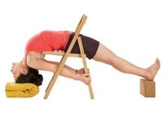 Iyengar use of chair, other supports for this invigorating and restorative backbend/inversion